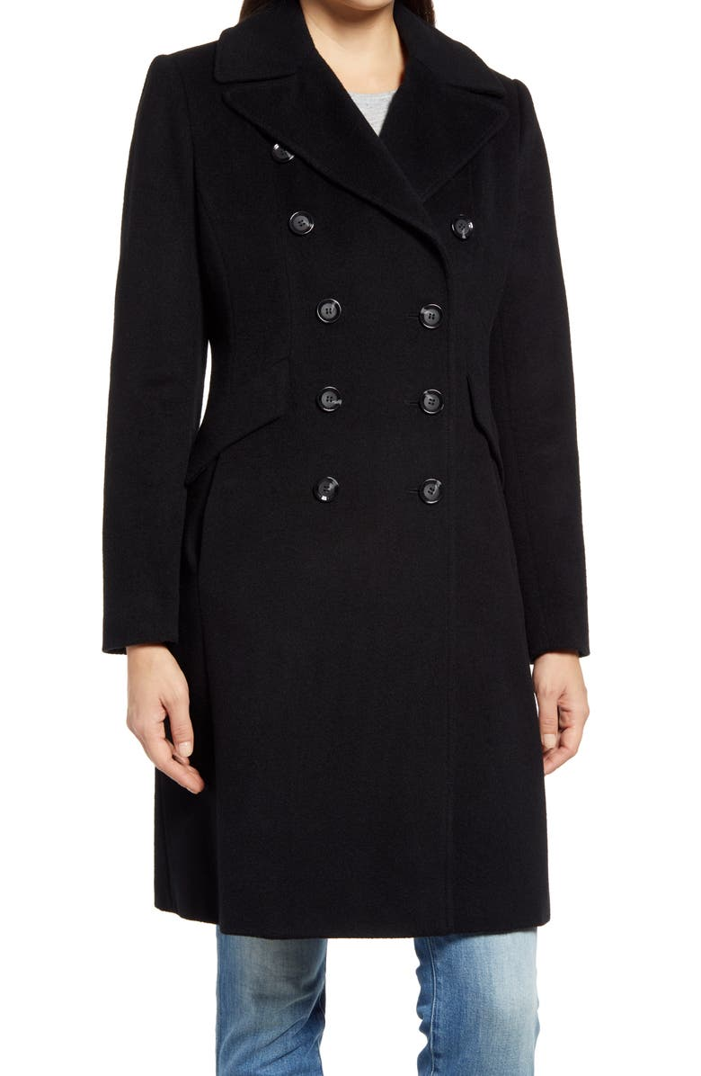 SAM EDELMAN Double Breasted Wool Blend Coat, Main, color, BLACK