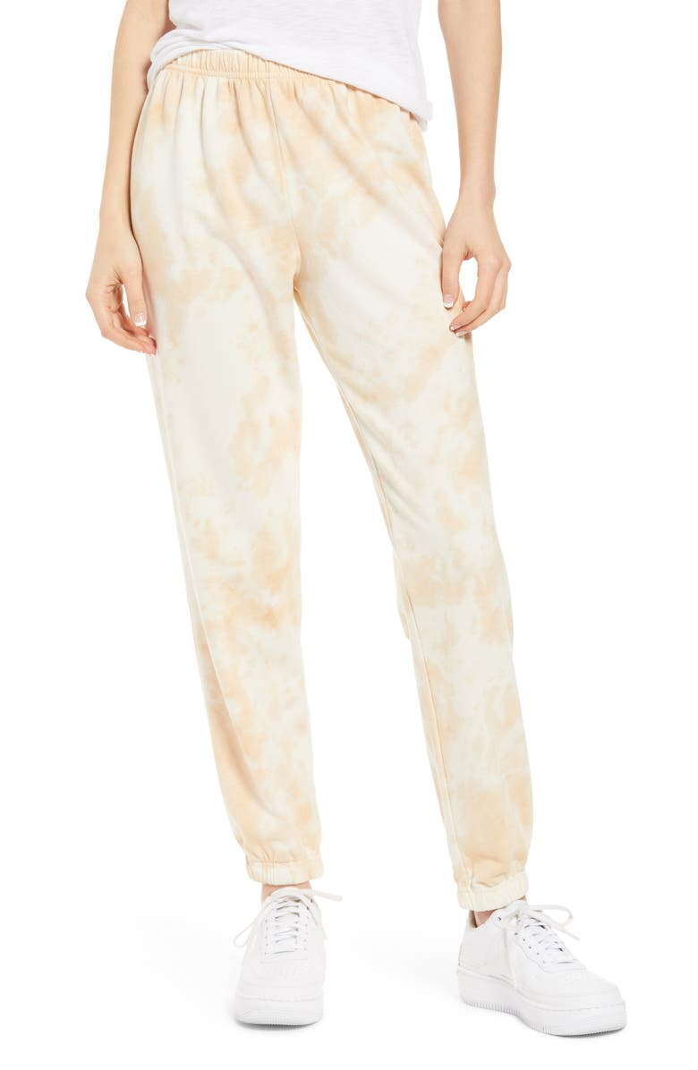 TREASURE & BOND Tie Dye Joggers, Main, color, IVORY- BEIGE COMBO