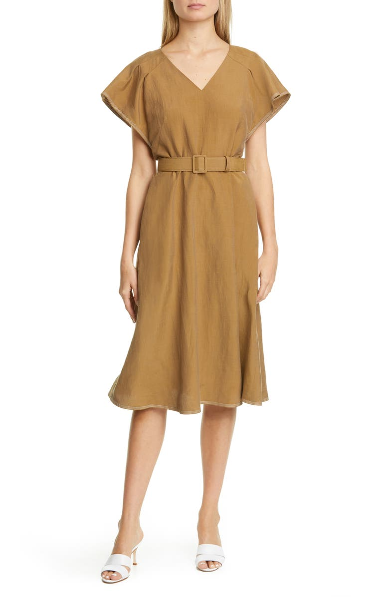 LAFAYETTE 148 NEW YORK Kline Belted Silk & Linen Midi Dress, Main, color, 200