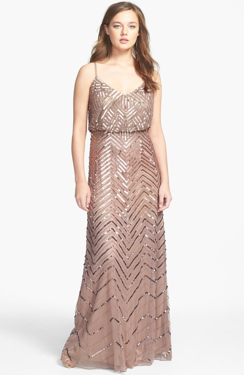 ADRIANNA PAPELL Cross Back Sequin Blouson Gown, Main, color, BUFF