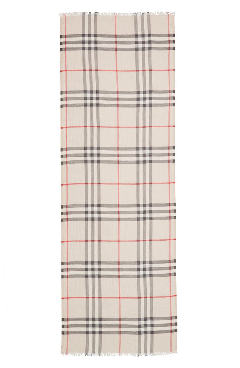 BURBERRY Giant Check Print Wool & Silk Scarf, Main, color, STONE
