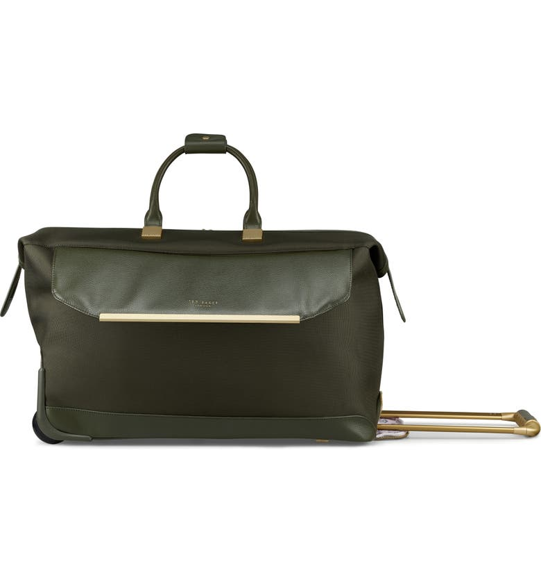 TED BAKER LONDON Albany Softside Rolling Leather & Twill Weekend Bag, Main, color, 300