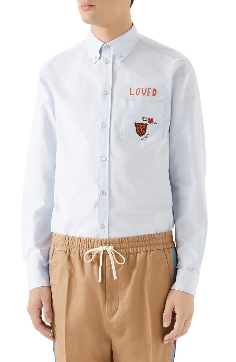 GUCCI Loved Embroidered Cotton Oxford Button-Down Shirt, Main, color, 452
