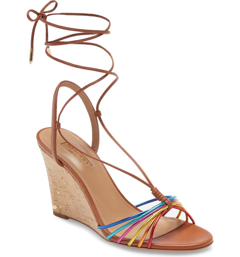 AQUAZZURA Whisper Rainbow Ankle Tie Wedge Sandal, Main, color, 200