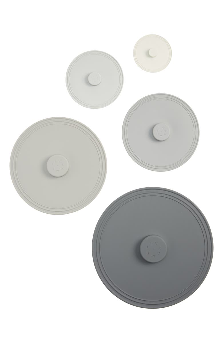 FIVE TWO BY FOOD52 Pack of 5 Assorted Airtight Silicone Lids, Main, color, GREY MULTI
