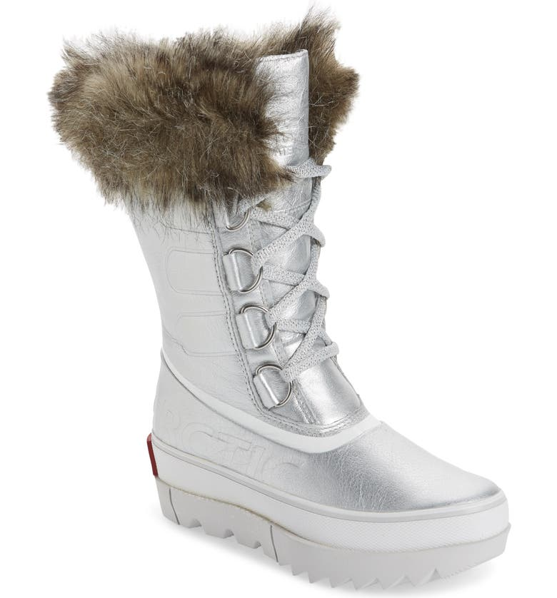 SOREL Joan of Arctic Next Faux Fur Waterproof Snow Boot, Main, color, PURE SILVER LEATHER