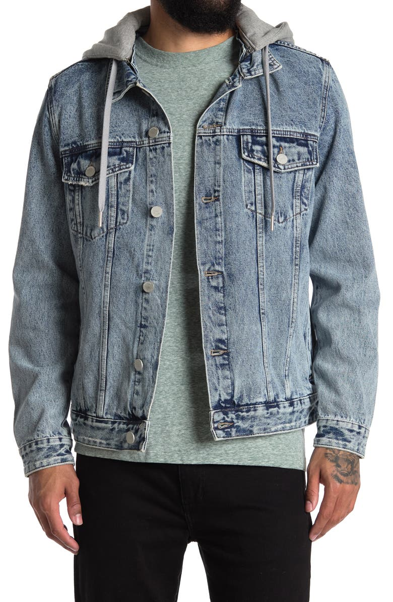 BLANKNYC Denim Jacket with Removable Hood, Main, color, ON THE BALL