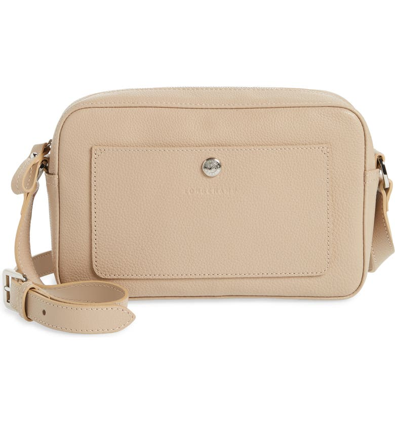 LONGCHAMP Le Foulonné Rectangular Leather Crossbody Bag, Main, color, BEIGE