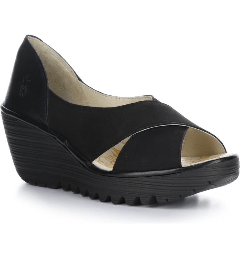 FLY LONDON Yoma Wedge Sandal, Main, color, BLACK CUPIDO/ MOUSSE