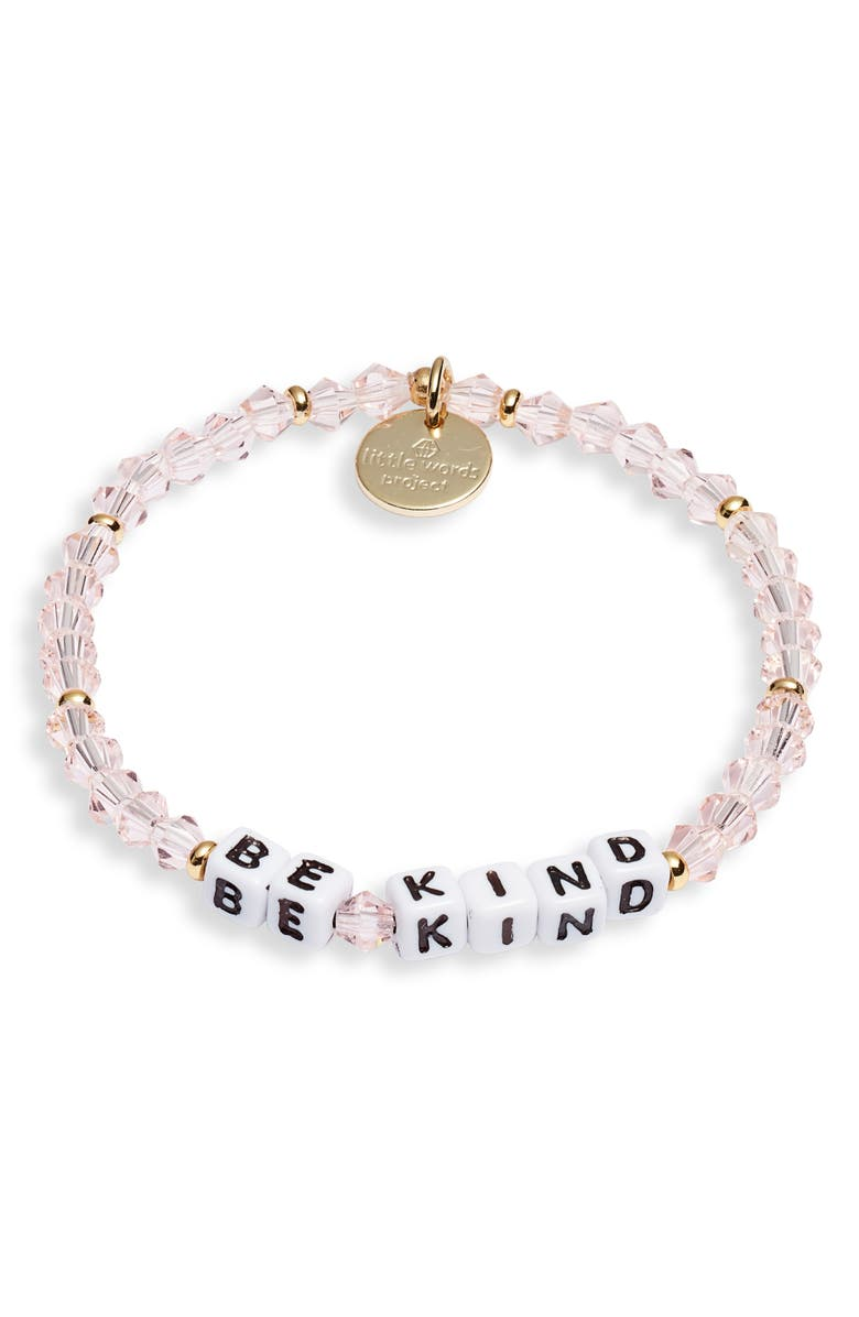 LITTLE WORDS PROJECT Be Kind Beaded Stretch Bracelet, Main, color, VINTAGE ROSE WHITE