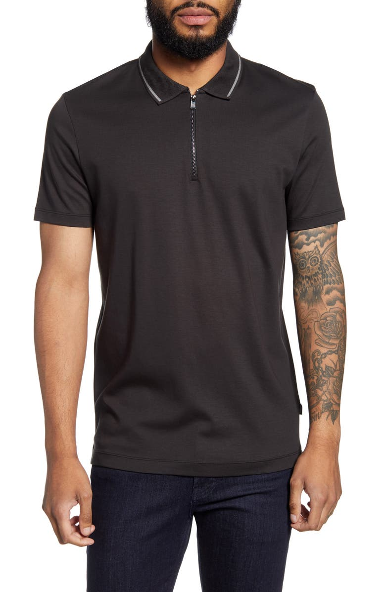 BOSS Paras Regular Fit Tipped Short Sleeve Zip Polo, Main, color, 001