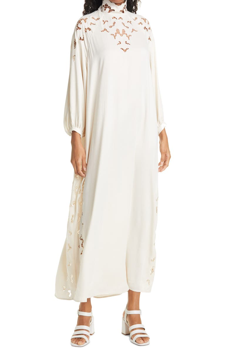 RODEBJER Anouska Embroidered Cutout Long Sleeve Shift Dress, Main, color, CERAMIC WHITE