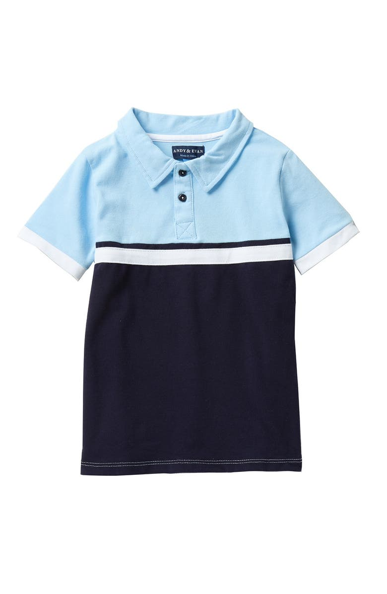 ANDY AND EVAN Colorblock Polo, Main, color, LIGHT BLUE