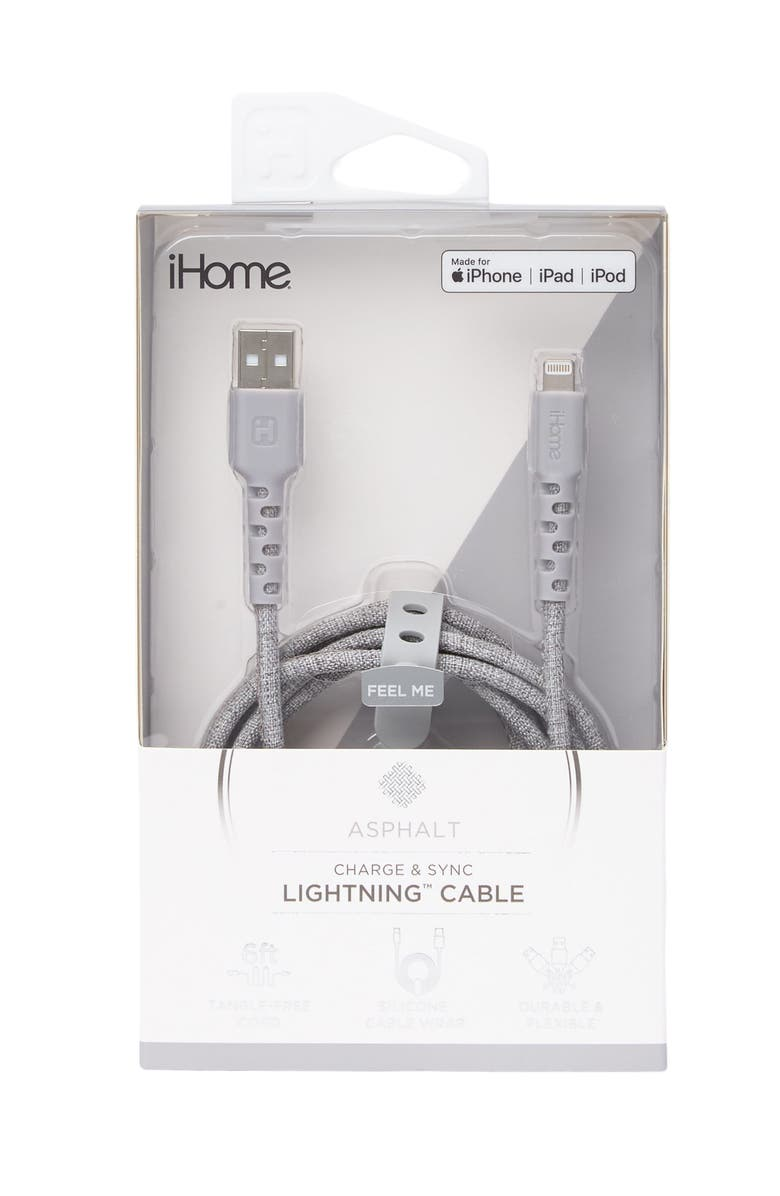 IHOME 6ft. Durastrain Lightning Charge Cable - Grey, Main, color, GREY