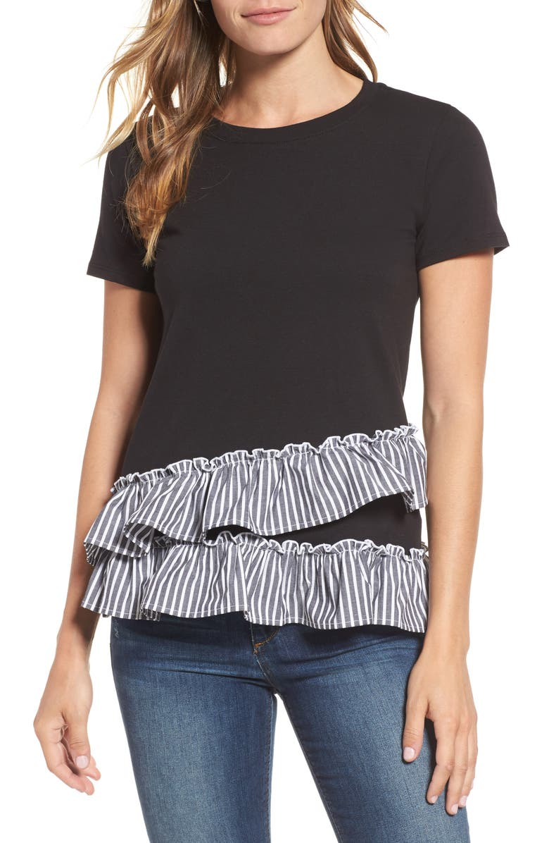 BOBEAU Poplin Ruffle Tee, Main, color, 015