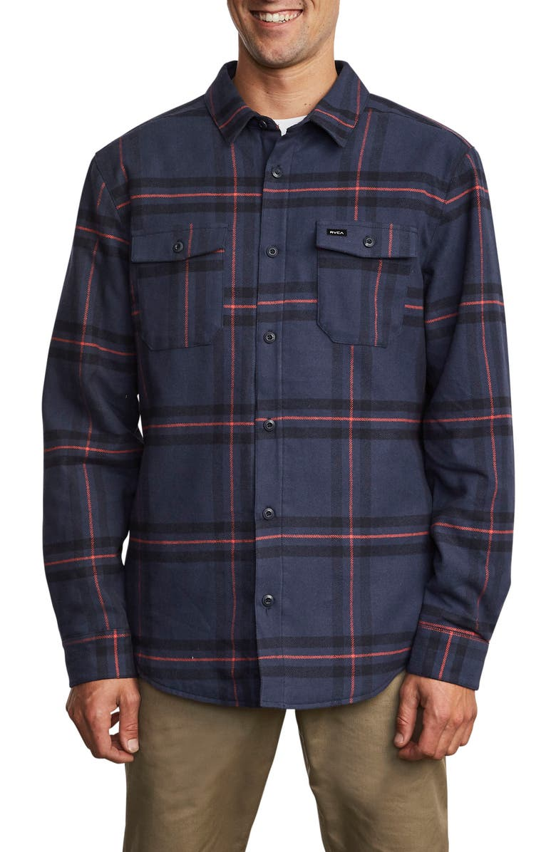 RVCA Yield Plaid Button-Up Flannel Shirt, Main, color, 410