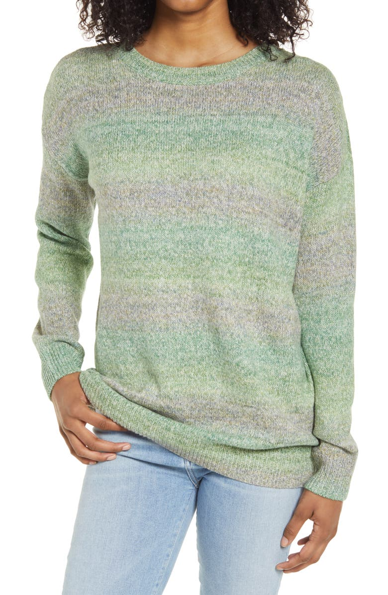 BP. Space Dye Tunic Sweater, Main, color, OLIVE MULTI