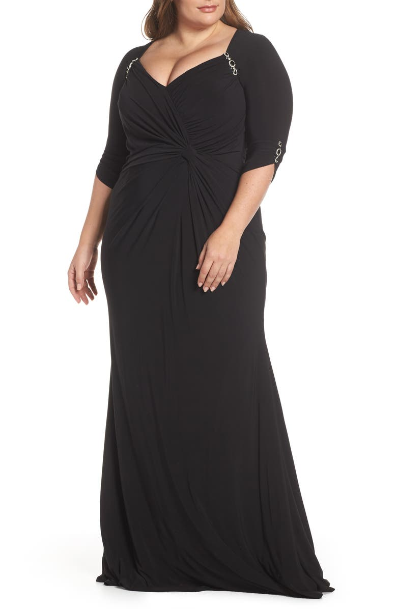 MAC DUGGAL Embellished Twist Front Jersey Gown, Main, color, BLACK