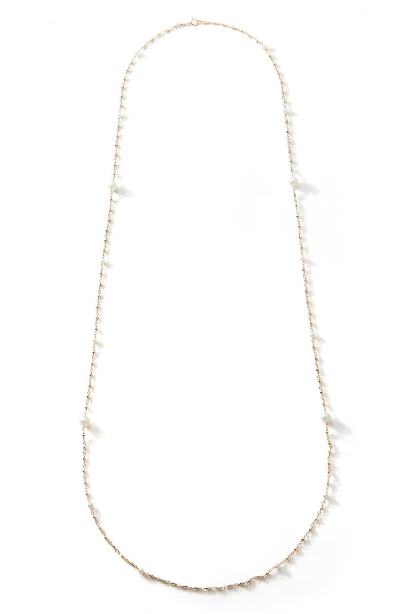 MIZUKI Akoya Pearl Station Necklace, Main, color, PEARL
