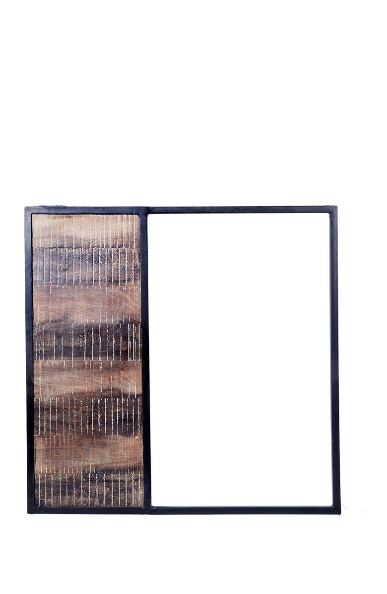 """HOME ESSENTIALS AND BEYOND 20""""H Square Black Metal Wood Wall Art, Main, color, NO COLOR"""