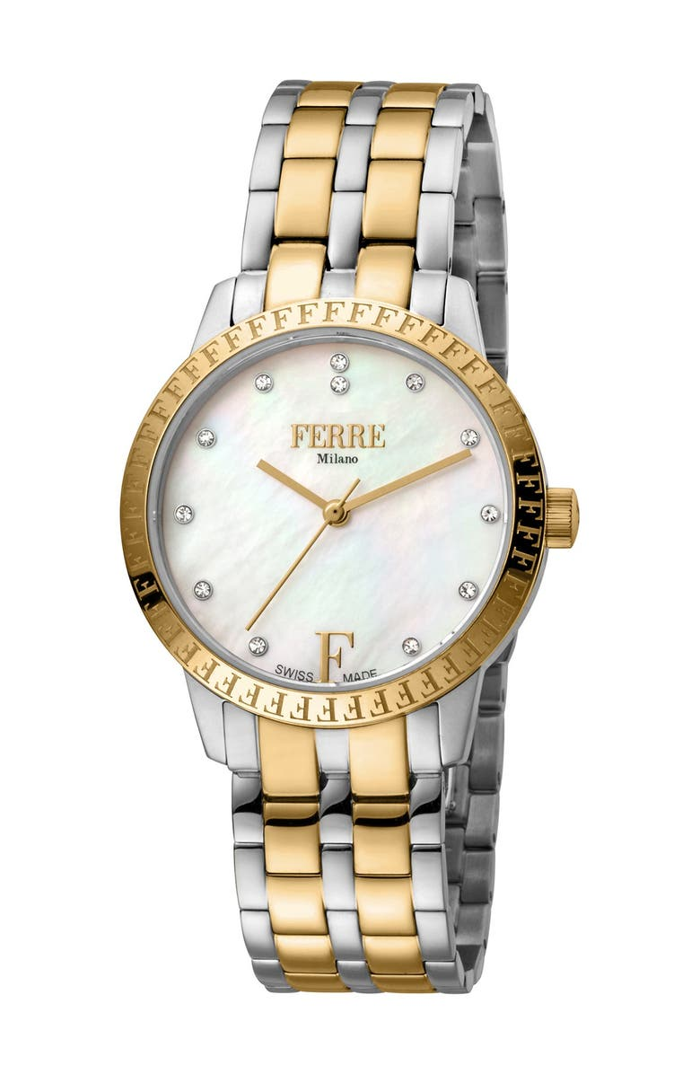 FERRE MILANO Women's Two-Tone Bracelet Watch, 44mm, Main, color, TWO TONED SS IP-YG