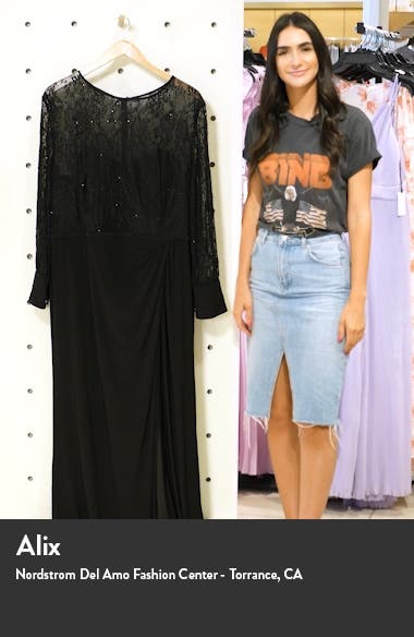 Long Sleeve Lace Illusion Gown, sales video thumbnail
