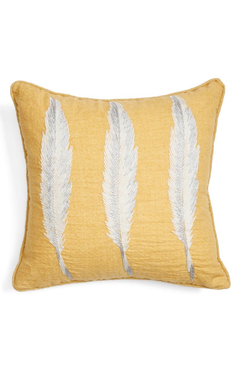 LEVTEX Feather Accent Pillow, Main, color, Yellow