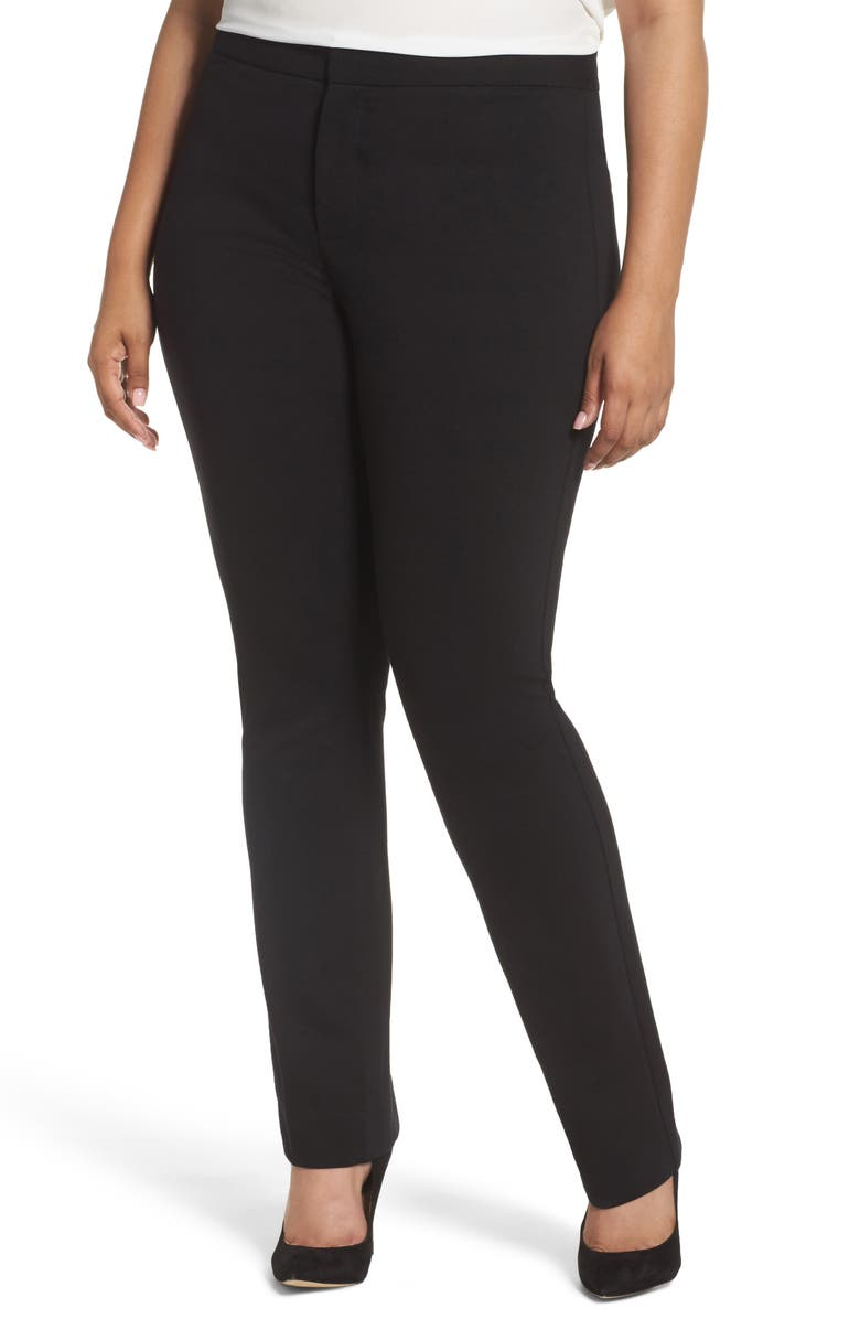 NYDJ Stretch Knit Straight Leg Trousers, Main, color, BLACK