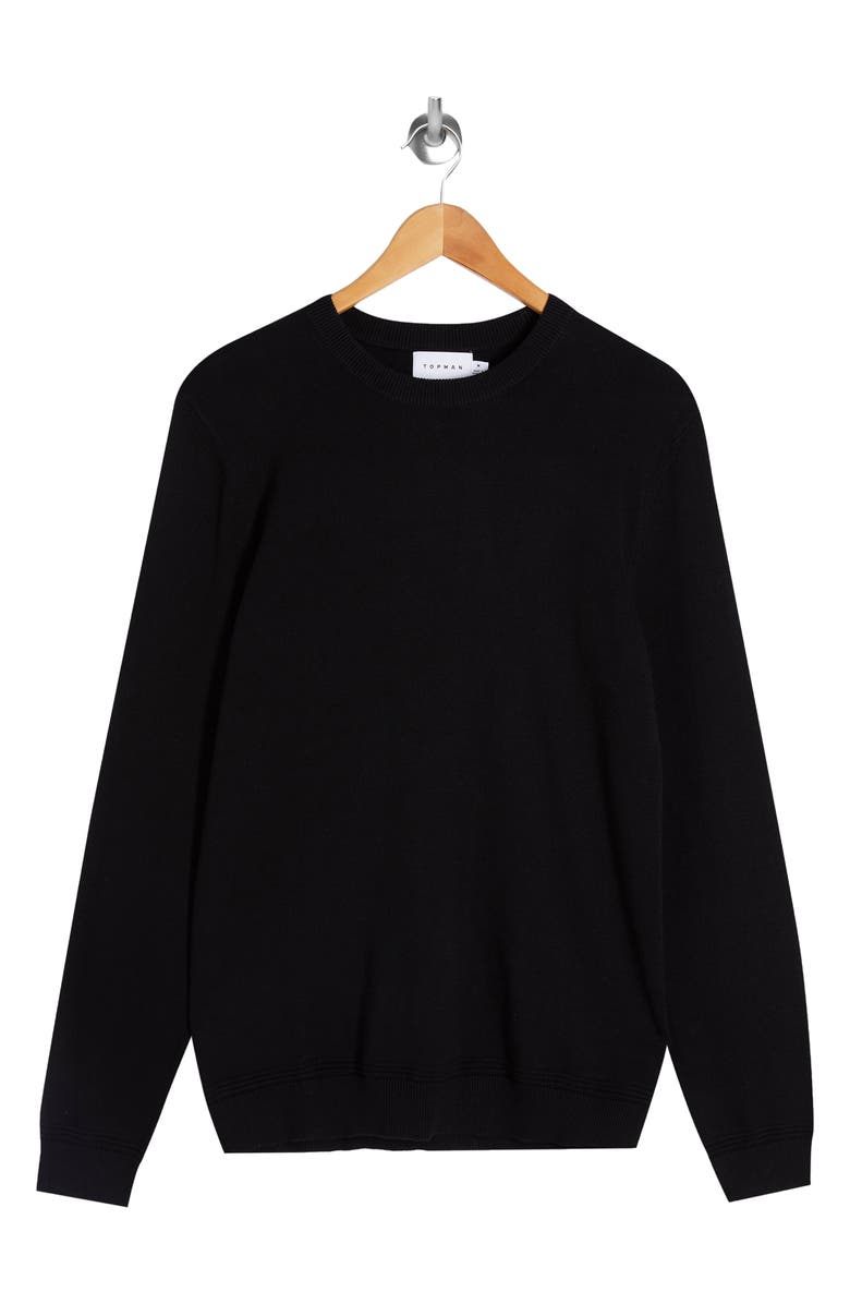 TOPMAN Essential Twist Crewneck Sweater, Main, color, 001