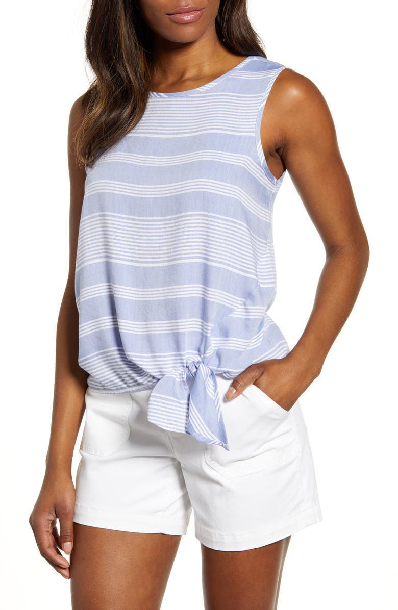 BEACHLUNCHLOUNGE Stripe Side Tie Sleeveless Blouse, Main, color, 460