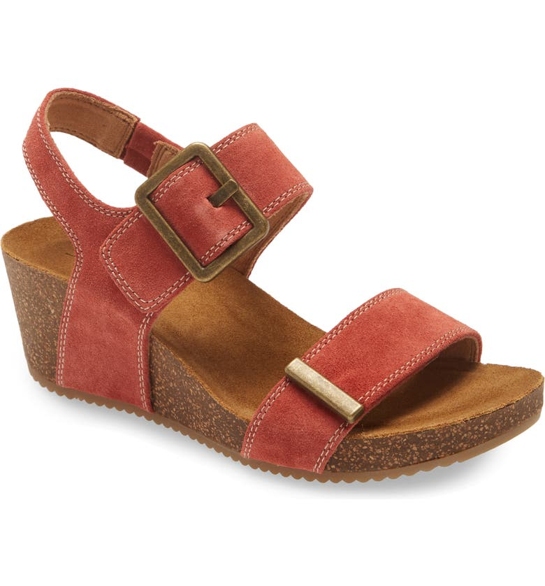 COMFORTIVA Emberly Wedge Sandal, Main, color, CORAL SUEDE