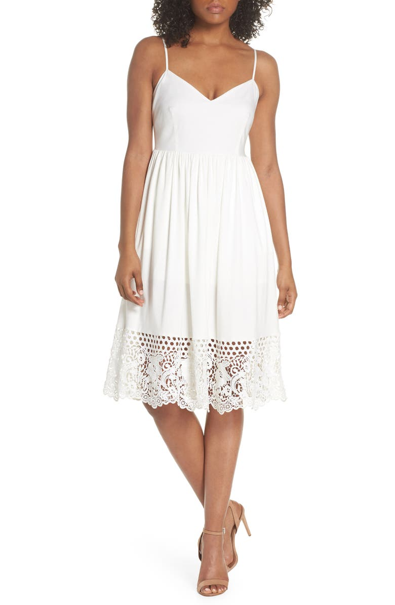 FRENCH CONNECTION Salerno Lace Trim Jersey Dress, Main, color, 106