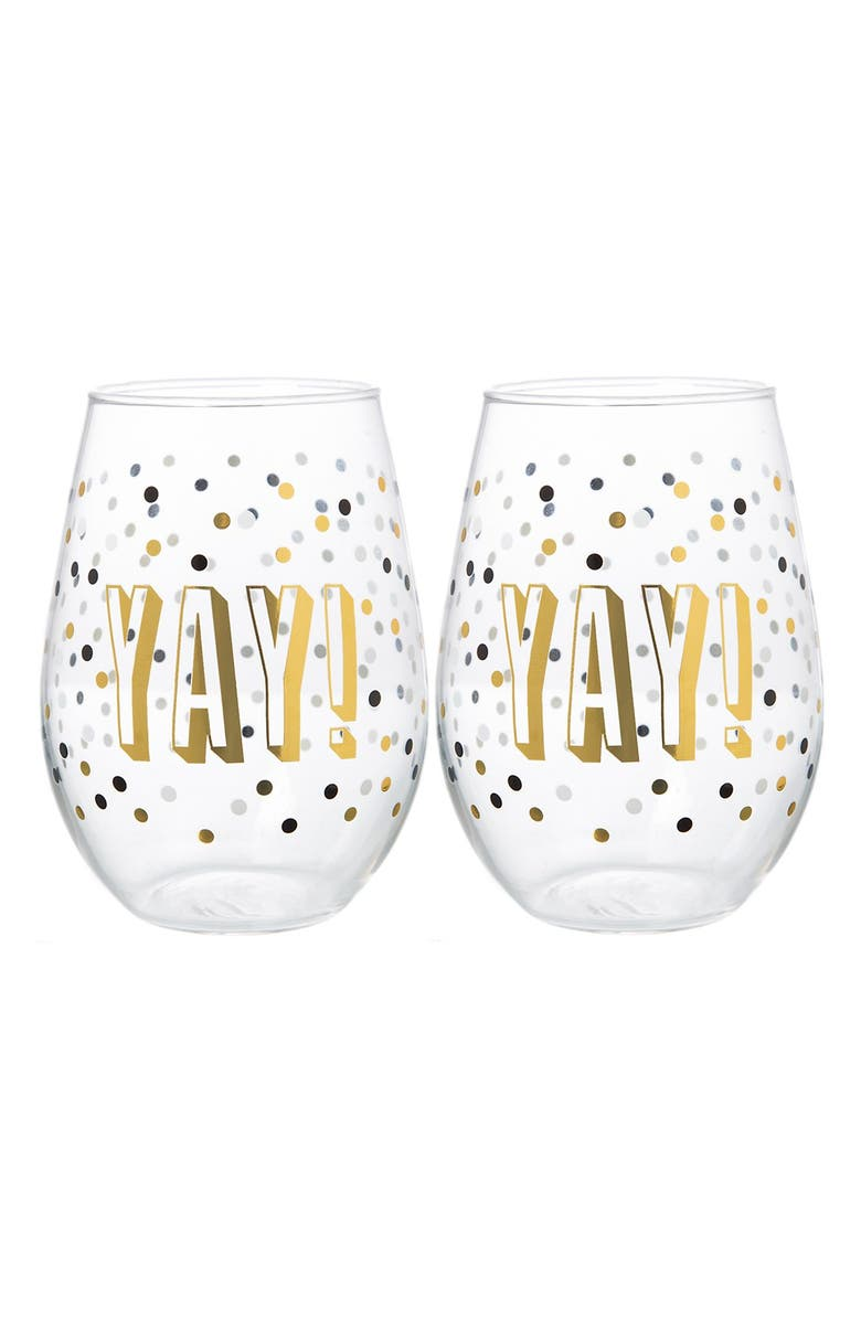 SLANT COLLECTIONS Yay! Set of 2 Stemless Wine Glasses, Main, color, CLEAR/ MULTI