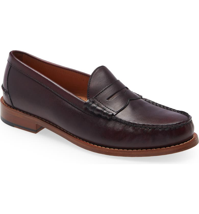 JOHNSTON & MURPHY Halstead Penny Loafer, Main, color, BURGUNDY