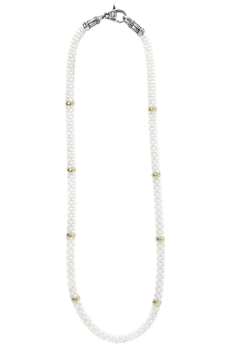 LAGOS 'White Caviar' 5mm Beaded Station Necklace, Main, color, WHITE CAVIAR