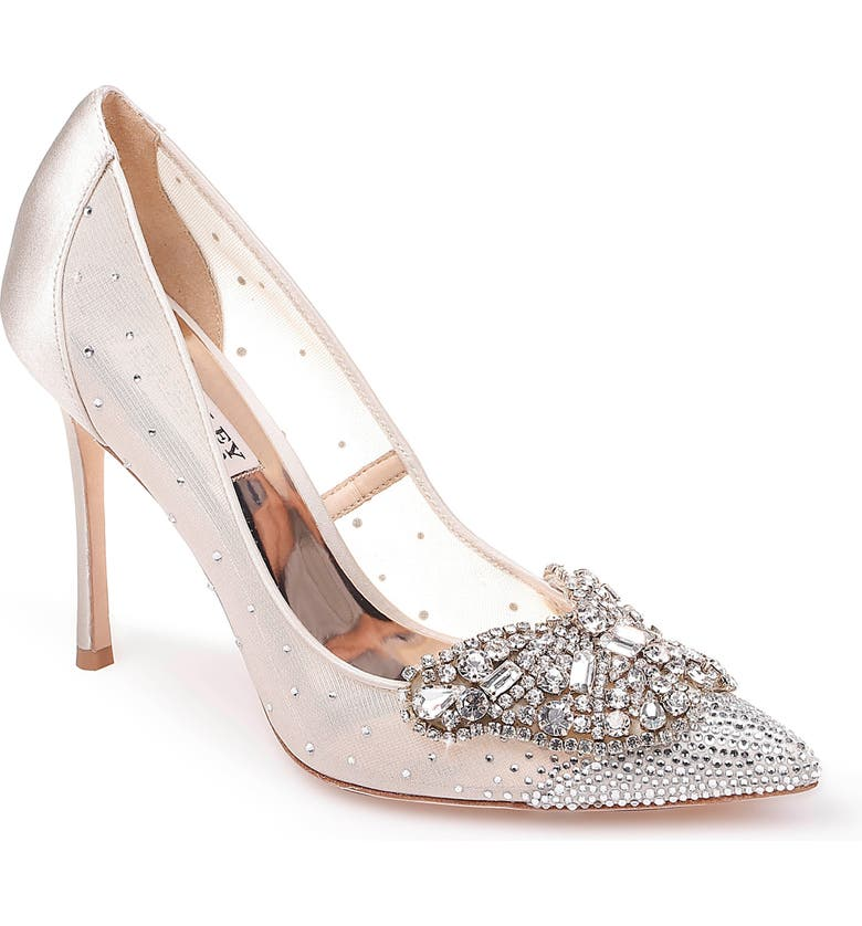 BADGLEY MISCHKA COLLECTION Quintana Crystal Embellished Pointed Toe Pump, Main, color, IVORY SATIN/ MESH