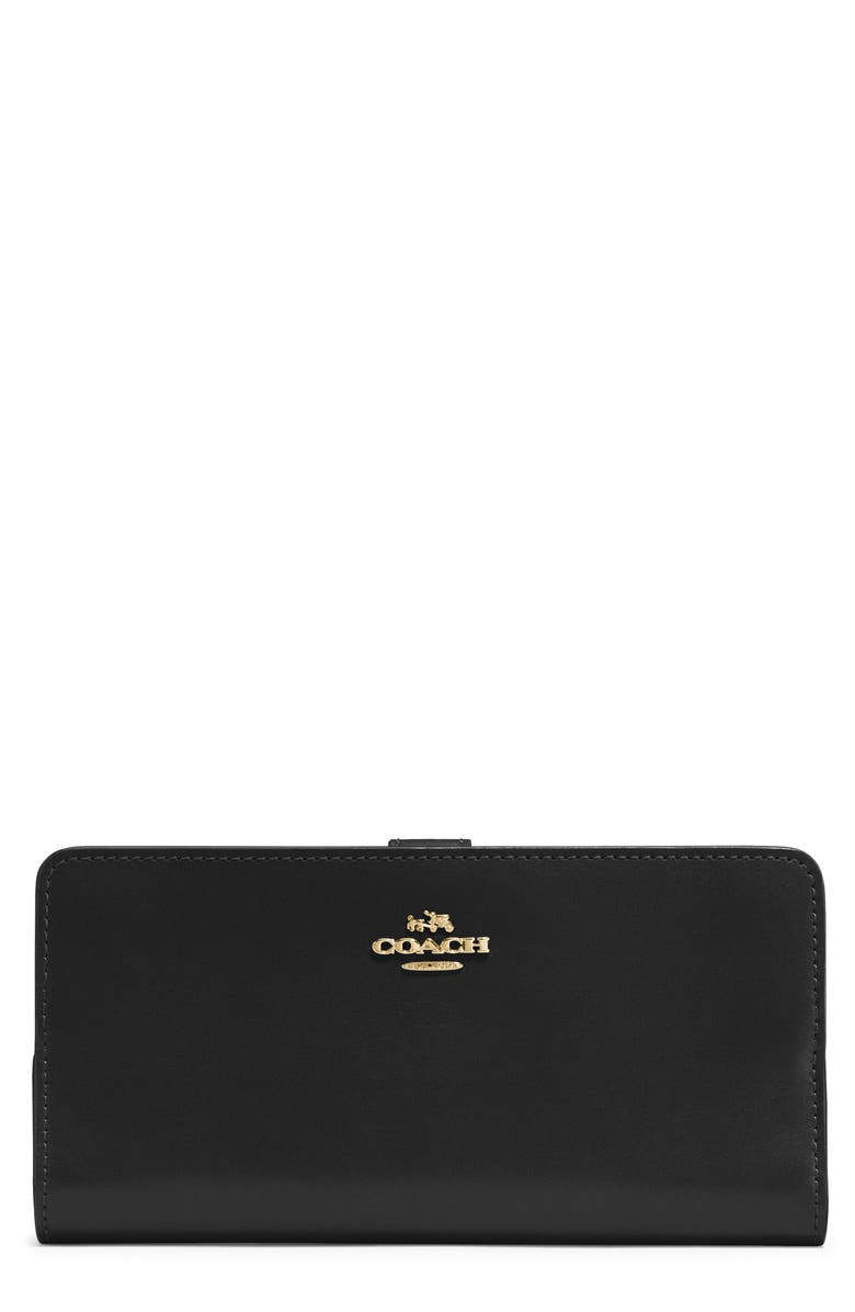COACH Skinny Leather Wallet, Main, color, LIGHT GOLD/ BLACK