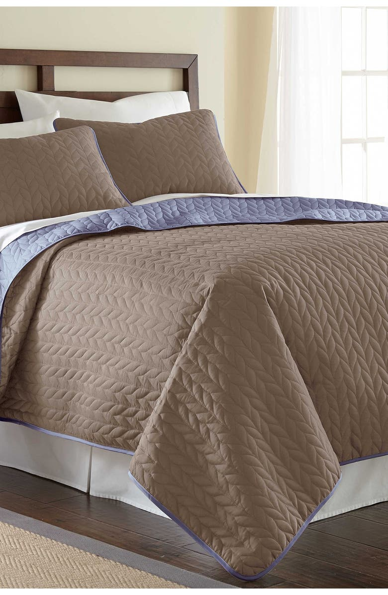 MODERN THREADS 3-Piece Queen Solid Reversible Coverlet Set - Stone/Dusty Periwinkle, Main, color, STONE/BLUE
