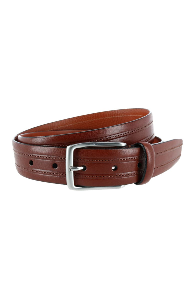 PHENIX Embossed Italian Leather Dress Belt with Stitching, Main, color, COGNAC-267