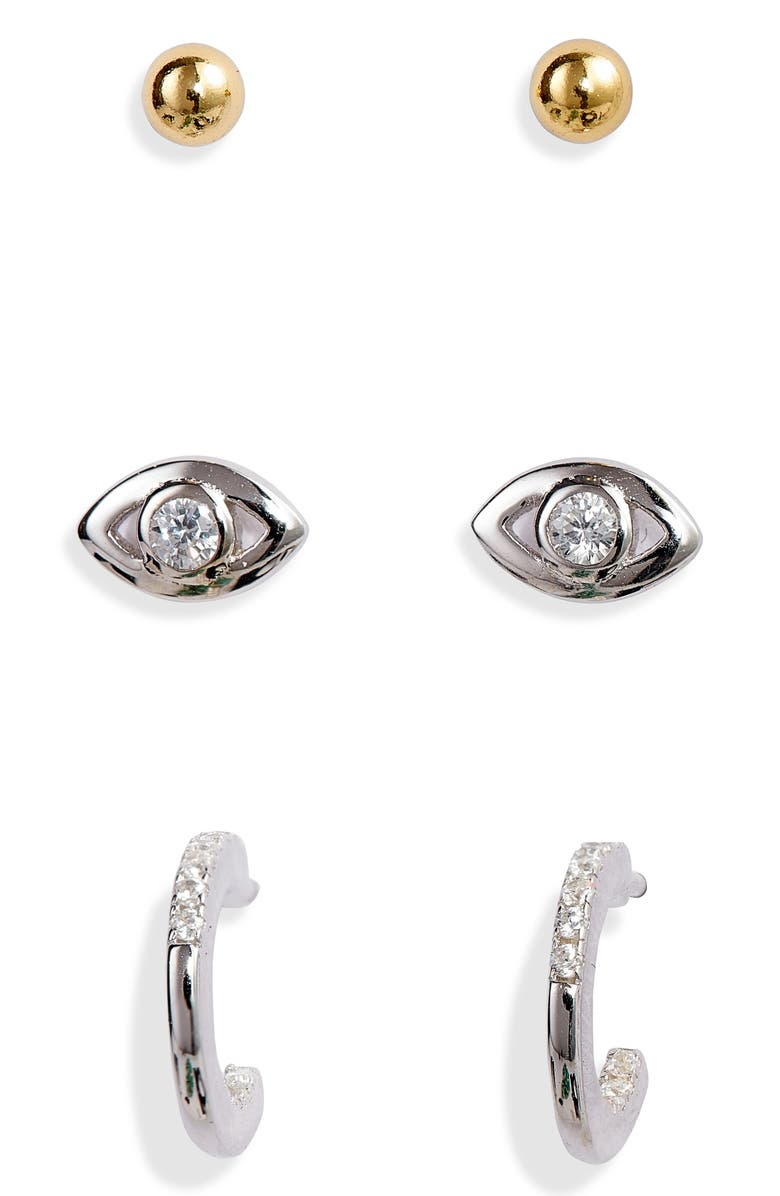 ARGENTO VIVO STERLING SILVER Argento Vivo Set of 3 Earrings, Main, color, 710