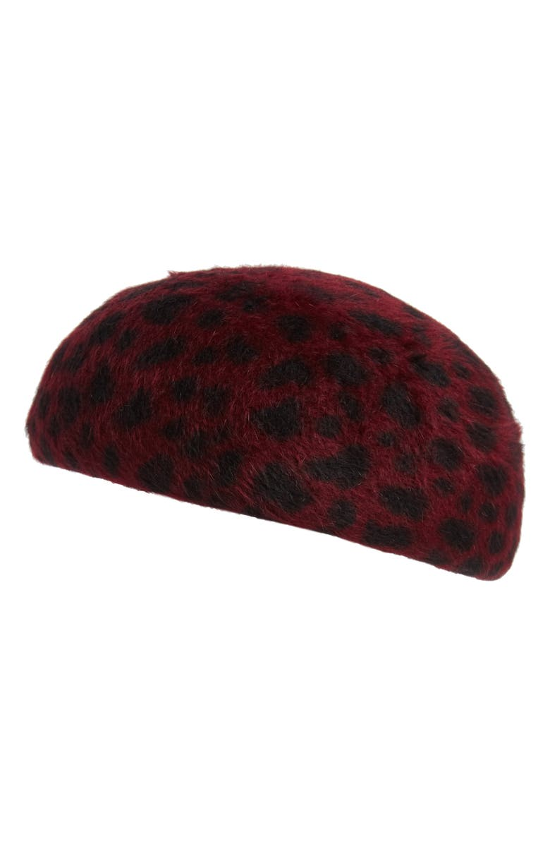 EUGENIA KIM Leopard Print Fur Felt Cap, Main, color, 600