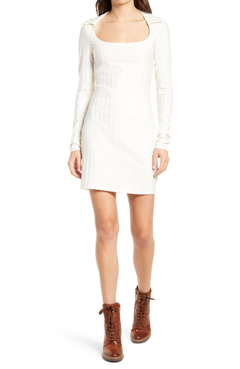 REFORMATION Vittoria Rib Long Sleeve Knit Dress, Main, color, IVORY