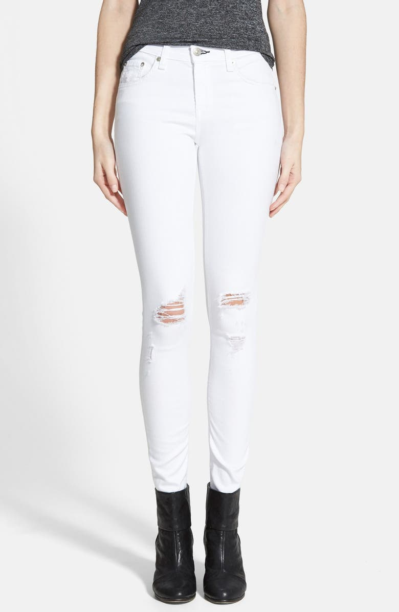 RAG & BONE/JEAN 'The Skinny' Distressed Jeans, Main, color, 100