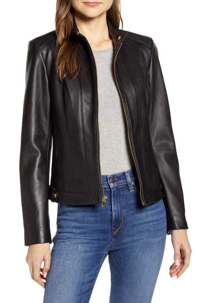 COLE HAAN SIGNATURE Cole Haan Leather Moto Jacket, Main, color, 002