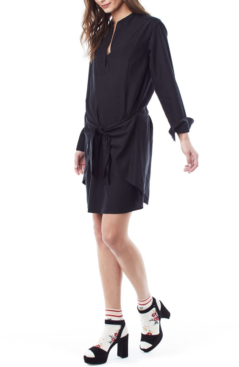 LOYAL HANA Lucy Maternity/Nursing Shirtdress, Main, color, BLACK