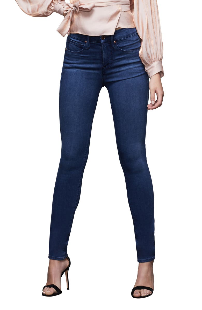 GOOD AMERICAN Good Legs High Waist Ankle Skinny Jeans, Main, color, BLUE370