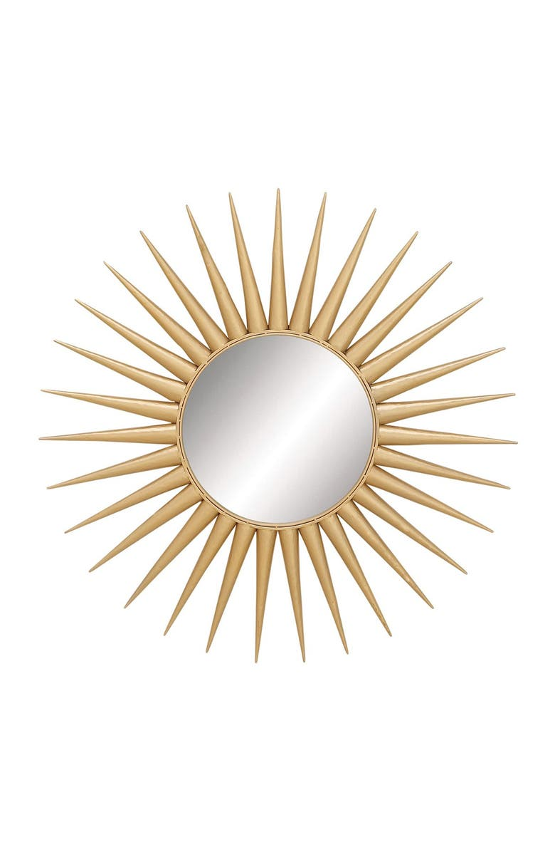 COSMO BY COSMOPOLITAN Glam Style Large Round Metallic Gold Sun Mirror, Main, color, GOLD