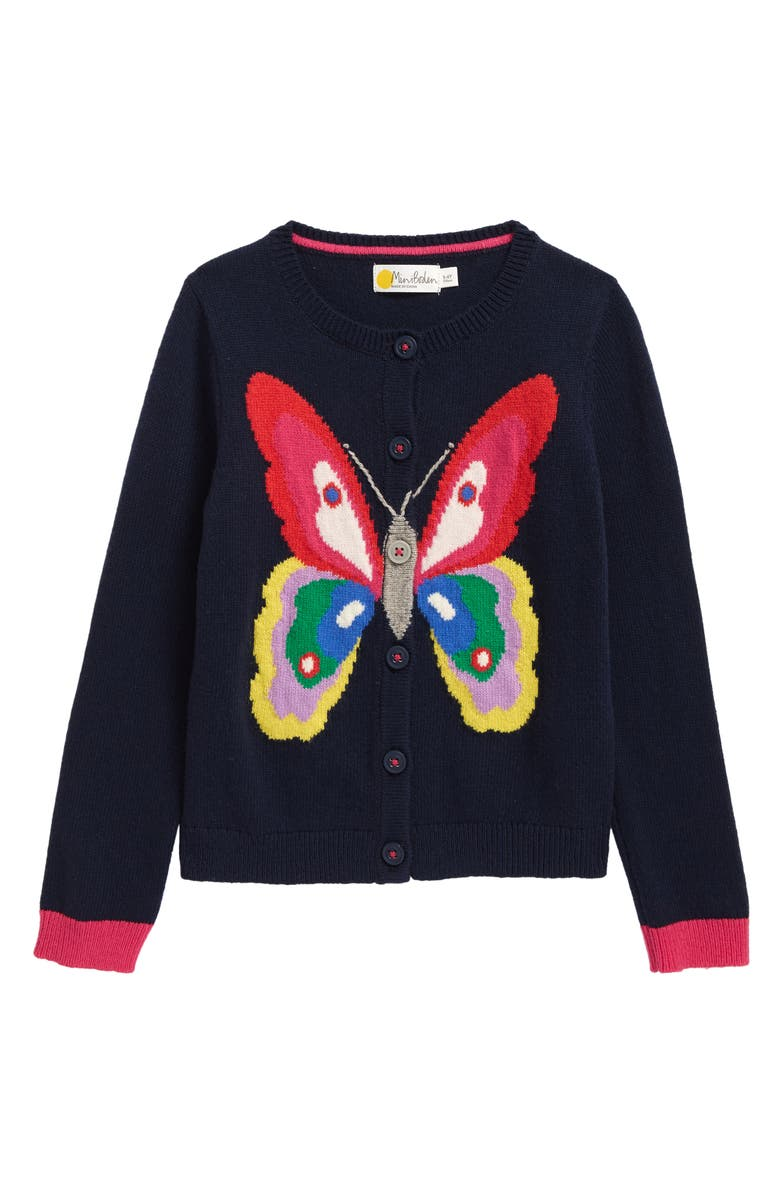 MINI BODEN Kids' Fun Cardigan, Main, color, COLLEGE NAVY BUTTERFLY