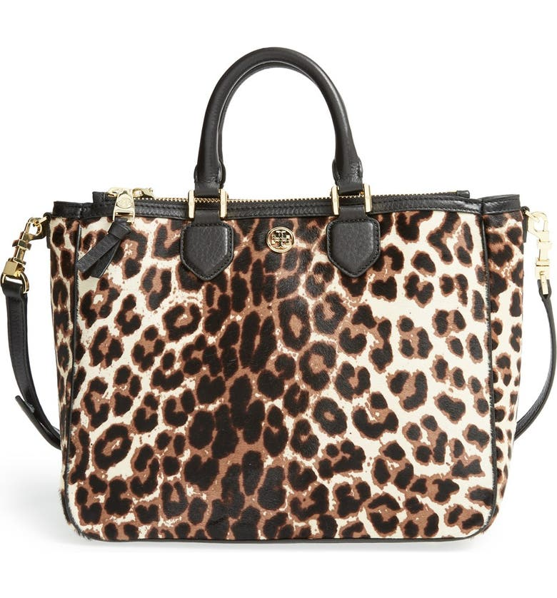 TORY BURCH 'Robinson' Genuine Calf Hair & Leather Tote, Main, color, 002