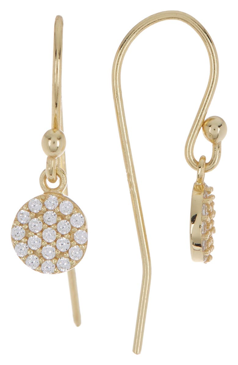 ARGENTO VIVO STERLING SILVER 18K Gold Plated Sterling Silver CZ Pave Disc Drop Earrings, Main, color, GOLD